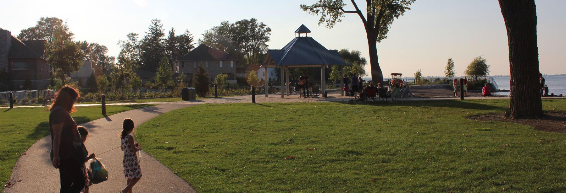 public walking on lakewood path