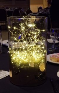 Table centrepiece with small led lights inside