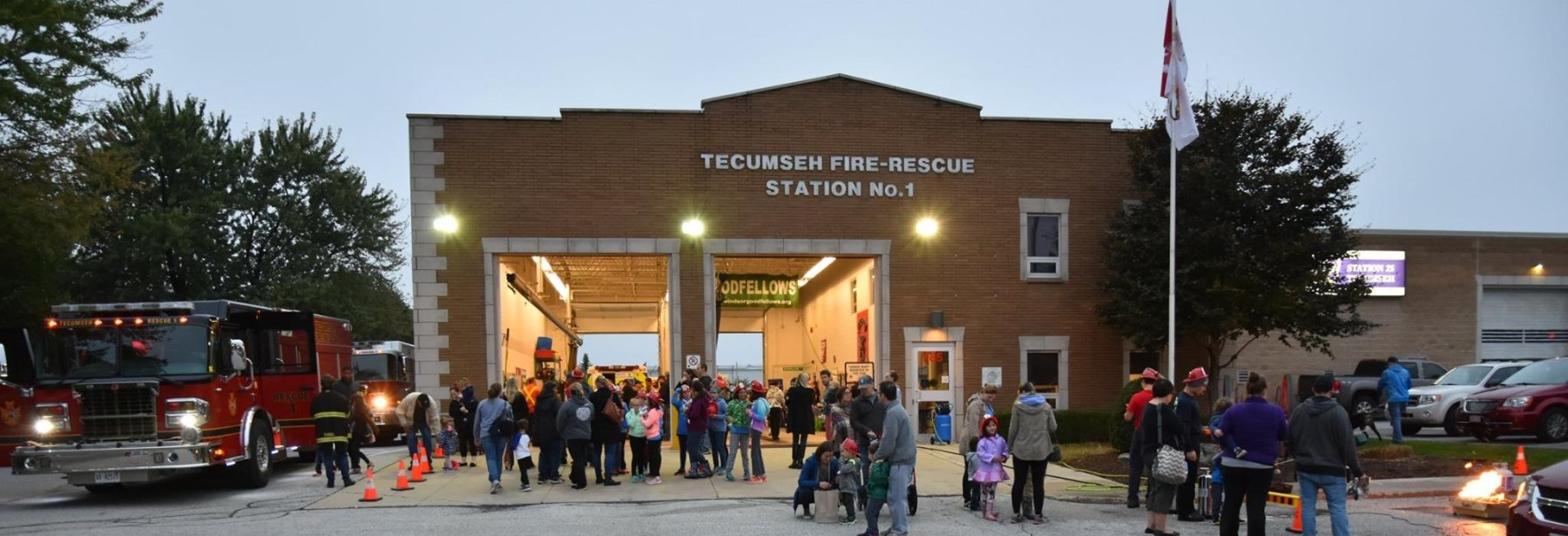 Fire Prevention Open House at Station 1 a large crowd in front of building