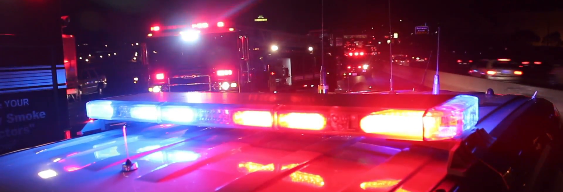 emergency vehicle lights at night