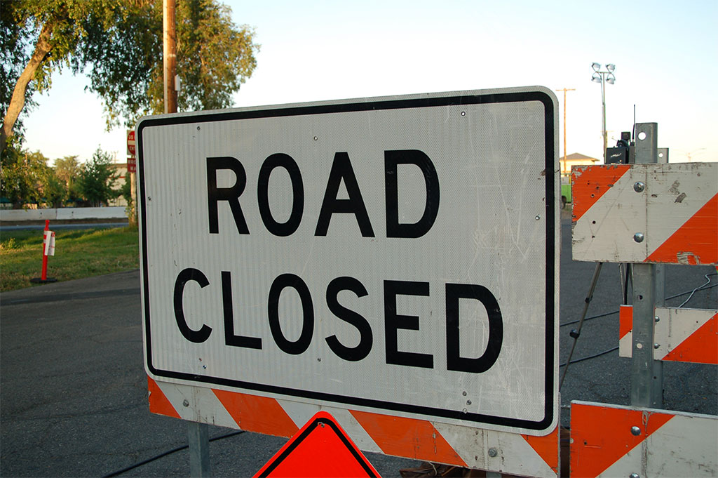 Image of a road closed sign