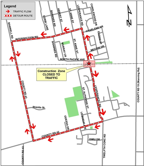 image of the detour map for road closure