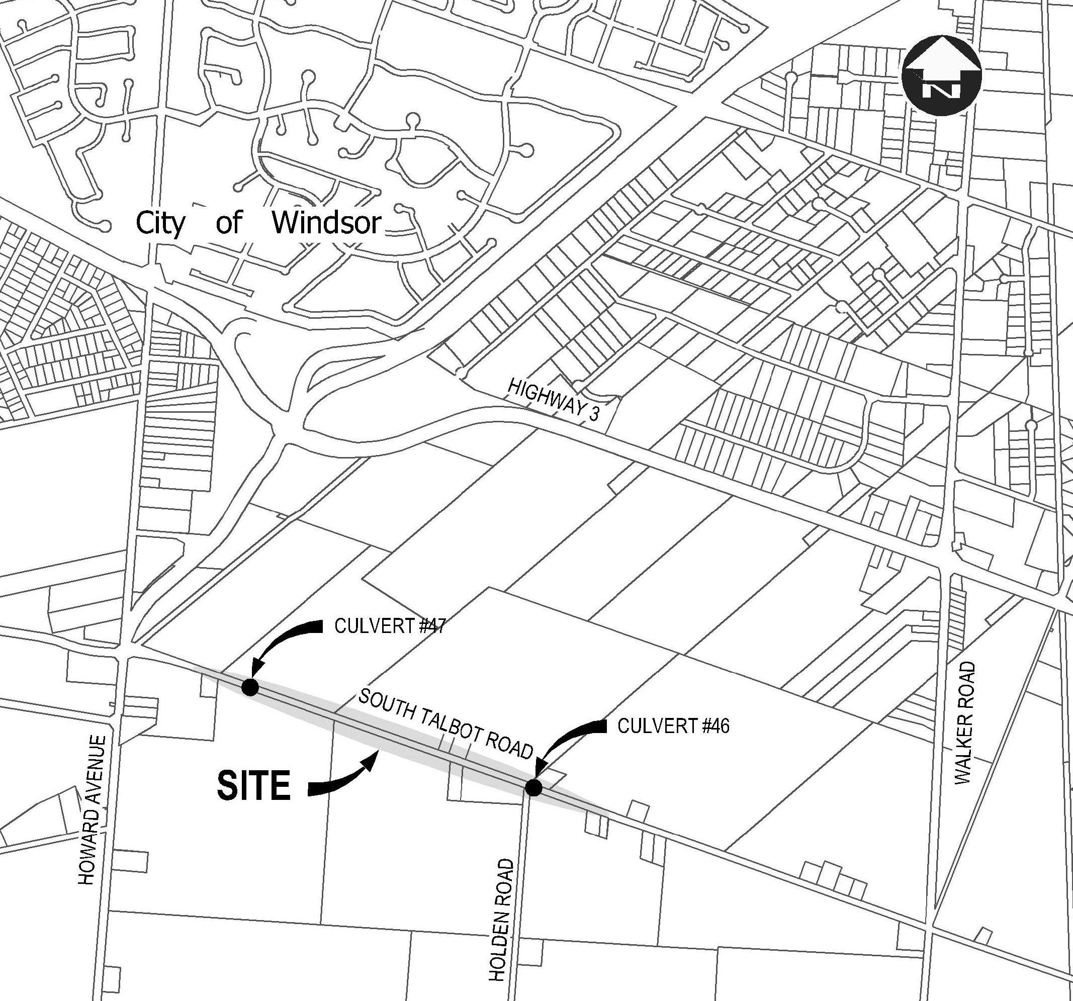 Map showing location of construction on South Talbot Road