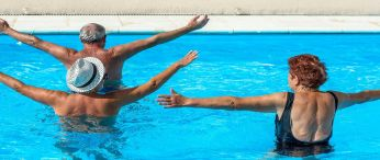Seniors swimming in pool